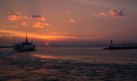 Ferry at Sunset on the Bosphorus Royalty Free Stock Image