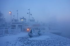Ferry in Suomenlinna fortress island on extremely cold winter morning Stock Image
