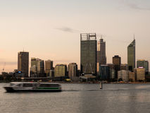 Ferry on Swan River with Perth City Skyline Stock Image