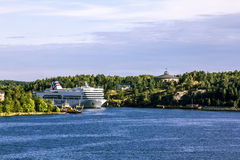Ferry Tallink Romantica floats in the Baltic sea in Stockholm. Stock Image