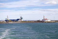 Free Ferry Terminal At Primera Angostura Close To Punta Delgada Along The Strait Of Magellan, Chile Stock Photo - 119202770