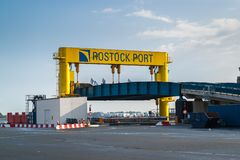 Empty Ferry terminal, loading platform for vehicles. royalty free stock images