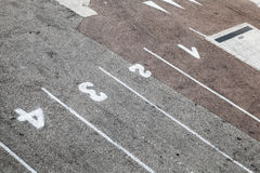 Ferry terminal loading port area, road marking Stock Images