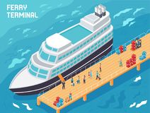 Ferry Terminal Isometric Illustration. Ferry terminal with modern vessel, tourists and loaders with cargo on pier, isometric vector illustration Royalty Free Stock Photos