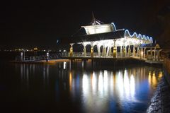 Ferry terminal at night Stock Image
