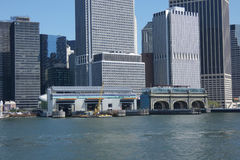 Ferry Terminals. Two ferry terminals in the Financial District of New York City: Whitehall left and Battery Maritime Building right Royalty Free Stock Photography