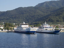 Ferry from Thassos to Keramoti, Greece. Thassos is the northernmost Greek island, and 12th largest by area Stock Images