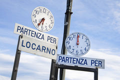 Ferry timetable, Ascona, Ticino, Switzerland Stock Photo