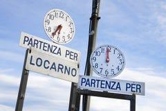 Ferry timetable, Ascona, Ticino, Switzerland Stock Photo