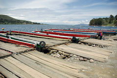 Ferry on Tiquina strait - Bolivia Royalty Free Stock Photography
