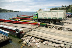 Ferry on Tiquina strait - Bolivia Royalty Free Stock Photo