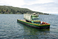 Ferry on Tiquina strait - Bolivia Royalty Free Stock Image