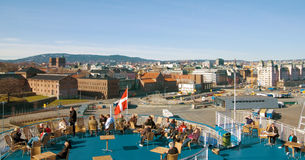 Ferry to Denmark. The ferry  to Denmark sailed from the pier Oslo. Trip from Norway to Denmark Stock Photos