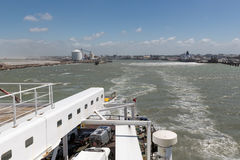 Ferry to Engeland leaving French harbor of Calais Royalty Free Stock Images