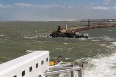 Ferry to Engeland leaving French harbor of Calais Stock Photography