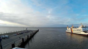Ferry to the North Frisian Islands stock video footage