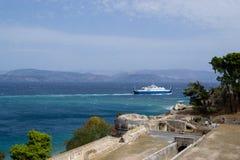 Ferry to the sea Corfu, Greece. Royalty Free Stock Photos