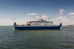 A ferry to transport people and cars across the sea. A ferry to transport people and vehicles across the sea through the Kerch Strait Stock Images