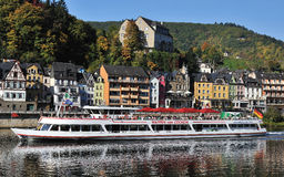 Ferry with tourists in Cochem city in Germany Royalty Free Stock Image