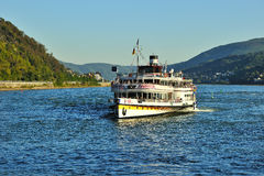 Ferry with tourists on Mosel river Stock Photos