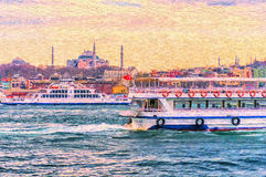 Ferry Traffic on the Bosphorus. A digital painting of a ferry sailing into the Bosphorus, With Hagia Sophia seen in the background in, Istanbul, Turkey Royalty Free Stock Photo