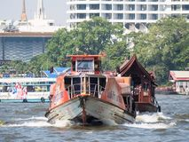 Ferry traffic on the Chao Praya River in Bangkok stock photo