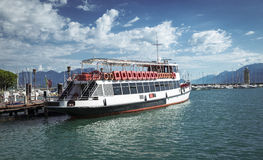 Ferry transport on Garda Lake Stock Photo