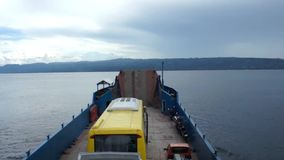 The ferry transports large cars by sea. Philippines. Cebu Island stock video footage