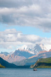 Ferry travels towards the shrouded Monte Fitz Roy -  Laguna del Stock Photo