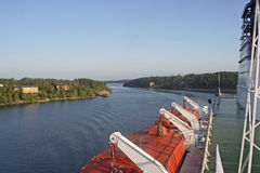 Ferry trip to Stockholm. Ferry winding through the archipelago near Stockholm in Sweden Stock Images