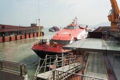 Ferry Turbojet at berth marine terminal  Macau. Stock Photos