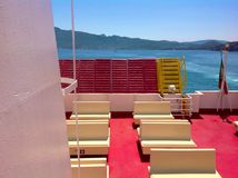 On ferry in tuscan archipelago,  Italy. On ferry from Portoferraio to Piombino with Elba island beautiful view, tuscan archipelago, Italy Royalty Free Stock Photos