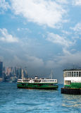 Ferry on Victoria harbor in Hong Kong Stock Photo