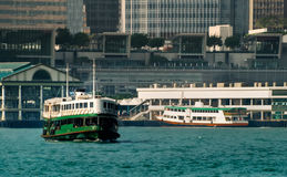 Ferry on Victoria harbor in Hong Kong Stock Image