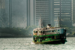 Ferry on Victoria harbor in Hong Kong Royalty Free Stock Photos