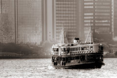 Ferry on Victoria harbor in Hong Kong Royalty Free Stock Image