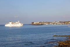 Ferry Volcan de Timanfaya ARMAS. PLAYA BLANCA, SPAIN - APRIL 2: the ferry Volcan de Timanfaya ARMAS enters the harbor on April 02,2012 in Playa Blanca, Spain. It Royalty Free Stock Images