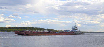 Ferry on the Volga Royalty Free Stock Images