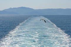 Ferry wake. Leaving Thassos Greece Royalty Free Stock Photo