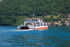 Ferry on the water. Ferry ship transporting cargo and passengers across the Gulf Royalty Free Stock Photos