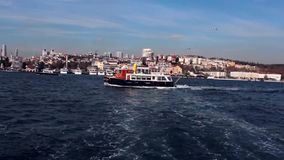 Ferry water trail in the sea. 1920x1080 stock video footage