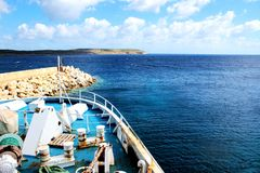 Ferry in the way to Gozo Island. Fragment of ferry in the way from Malta to Gozo Island Royalty Free Stock Image