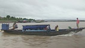 Ferry, wind, mekong , cambodia, southeast asia stock video footage