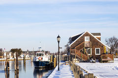 Ferry in the Winter. Fire Island ferry docked at Davis park in the winter. Long Island, New York Royalty Free Stock Images