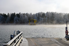 Ferry on wintertime. Royalty Free Stock Photo