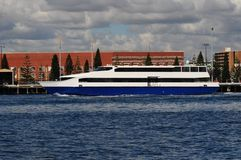 Ferry yatch on the river Royalty Free Stock Photography