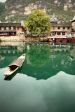 Ferry in ZhenYuan Ancient City, GuiZhou,China. People must take boat to the other side of the river Stock Image