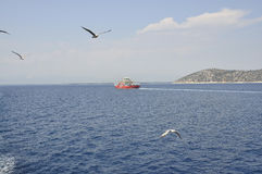 Ferryboat on the Aegean Sea near Thassos island in Greece. On August 21st 2015 royalty free stock images