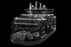 Ferryboat. Cargo 3D model body structure, wire model Stock Photography