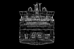 Ferryboat. Cargo 3D model body structure, wire model Stock Image